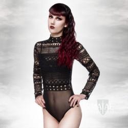 Gothic Body aus Spitze Schwarz